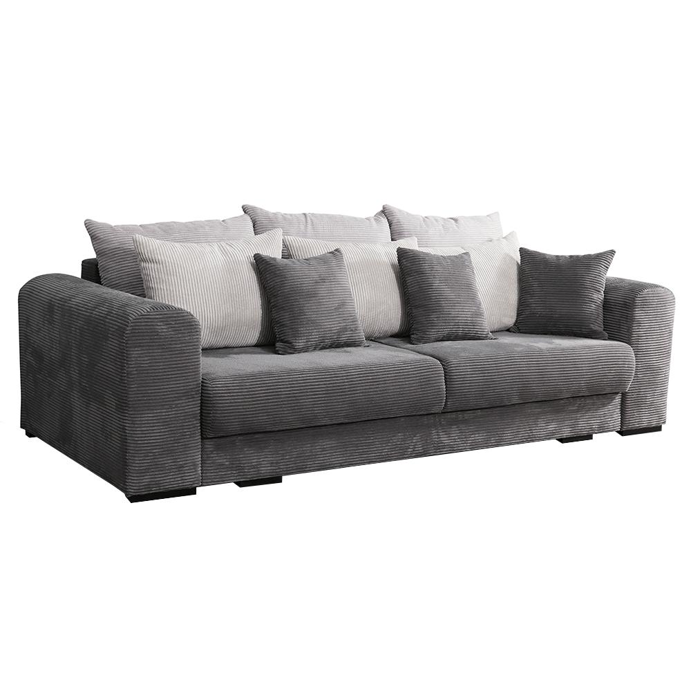Extra tágas kanapé, szürke/világosszürke/bézs, GILEN BIG SOFA