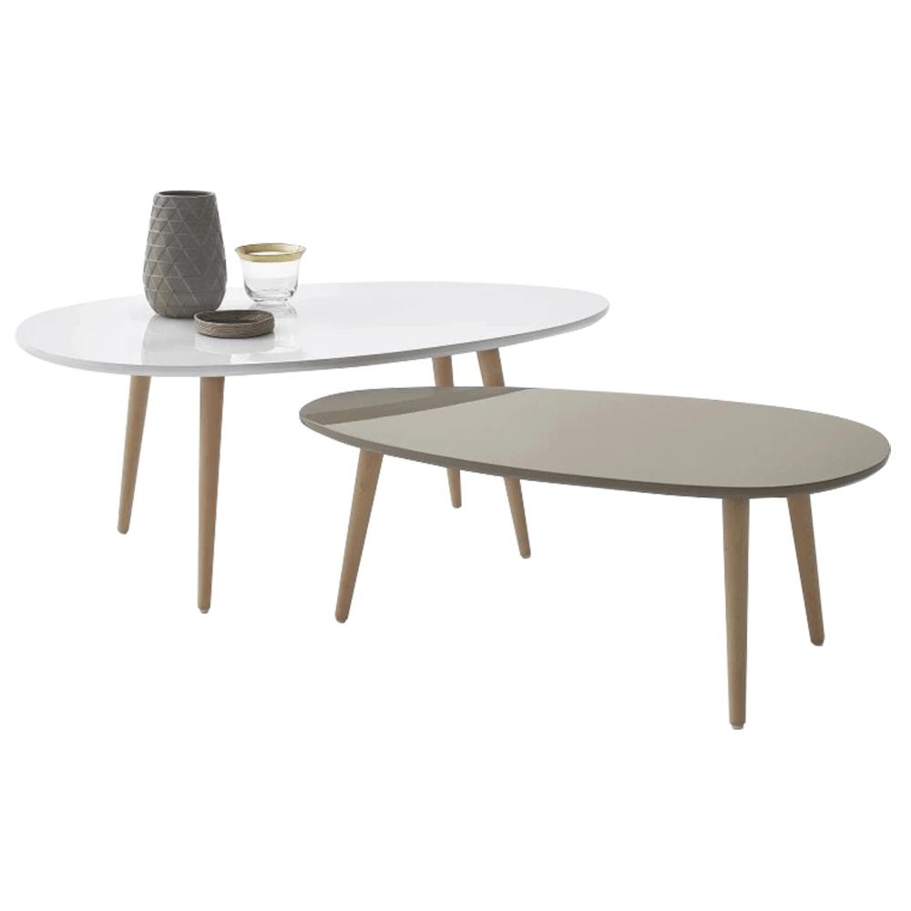 Asztal szett, fehér/szürke, DOBLO
