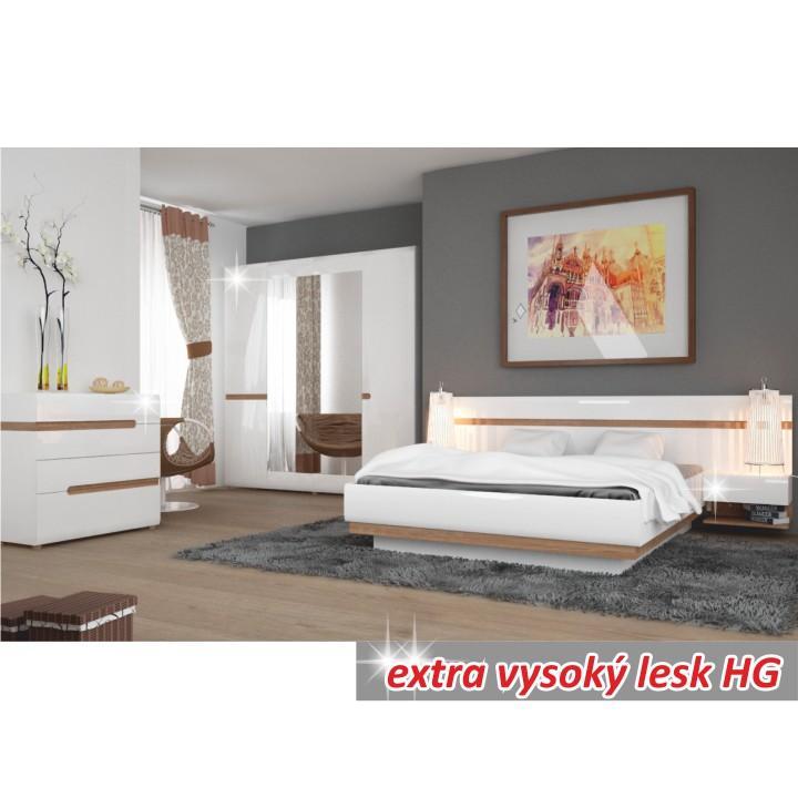 Posteľ, biela extra vysoký lesk HG/dub sonoma tmavý, 180x200 cm, interiér, LYNATET TYP 93
