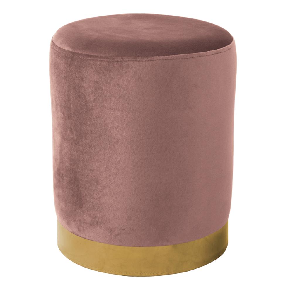 Puff, rózsaszín Velvet anyag/gold króm-arany, ALAZ