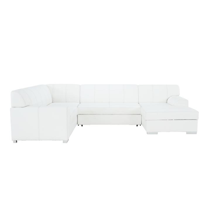 Rohová sedacia súprava, P, ekokoža biela/sivé prešitie, BAZIL U - fotka na bielom pozadí