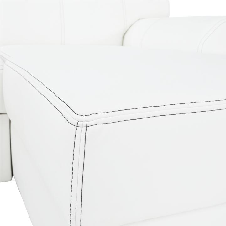 Rohová sedacia súprava, P, ekokoža biela/sivé prešitie, BAZIL U - detail prešitia