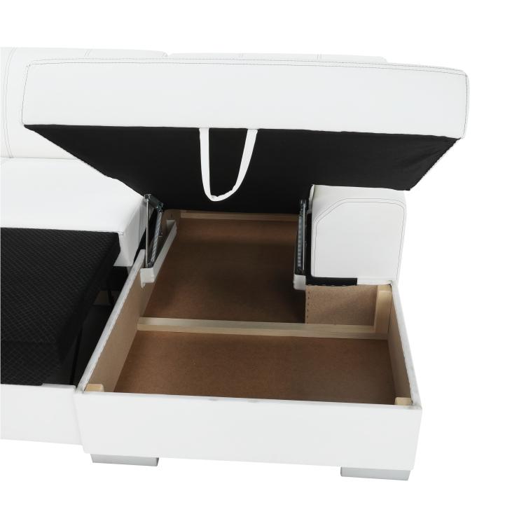 Rohová sedacia súprava, P, ekokoža biela/sivé prešitie, BAZIL U - úložný priestor