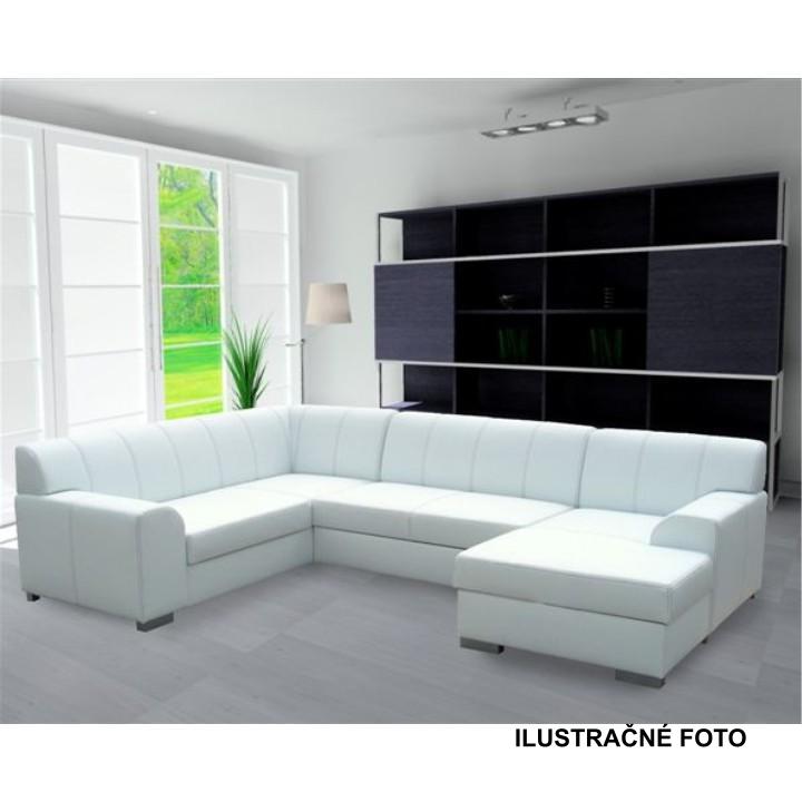 Rohová sedacia súprava, P, ekokoža biela/sivé prešitie, BAZIL U - interiér