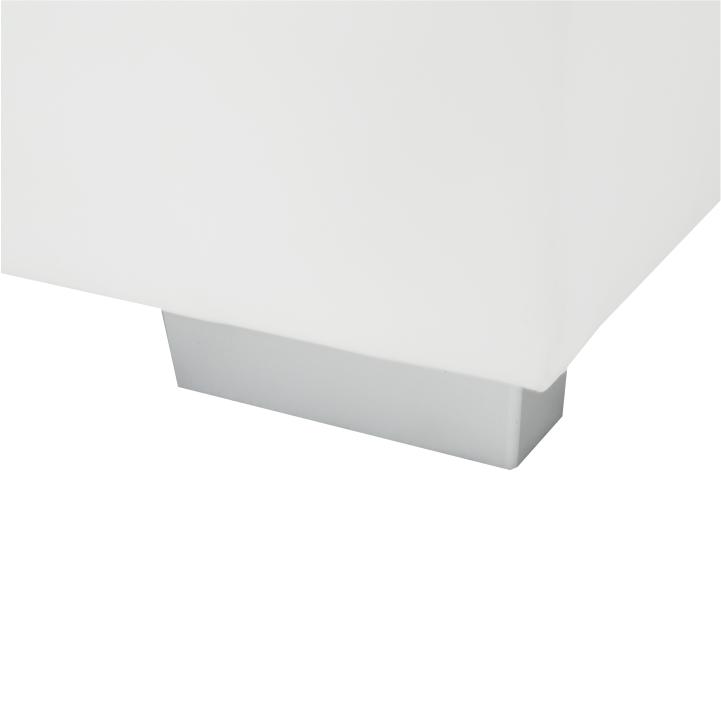 Rohová sedacia súprava, P, ekokoža biela/sivé prešitie, BAZIL U - detail nožičky