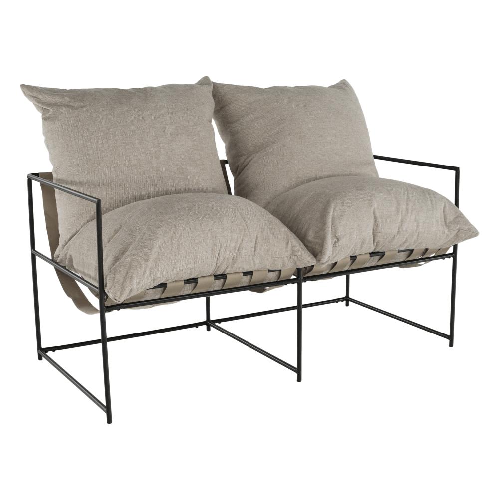 Canapea modernă 2 locuri, bej/negru, DEKER