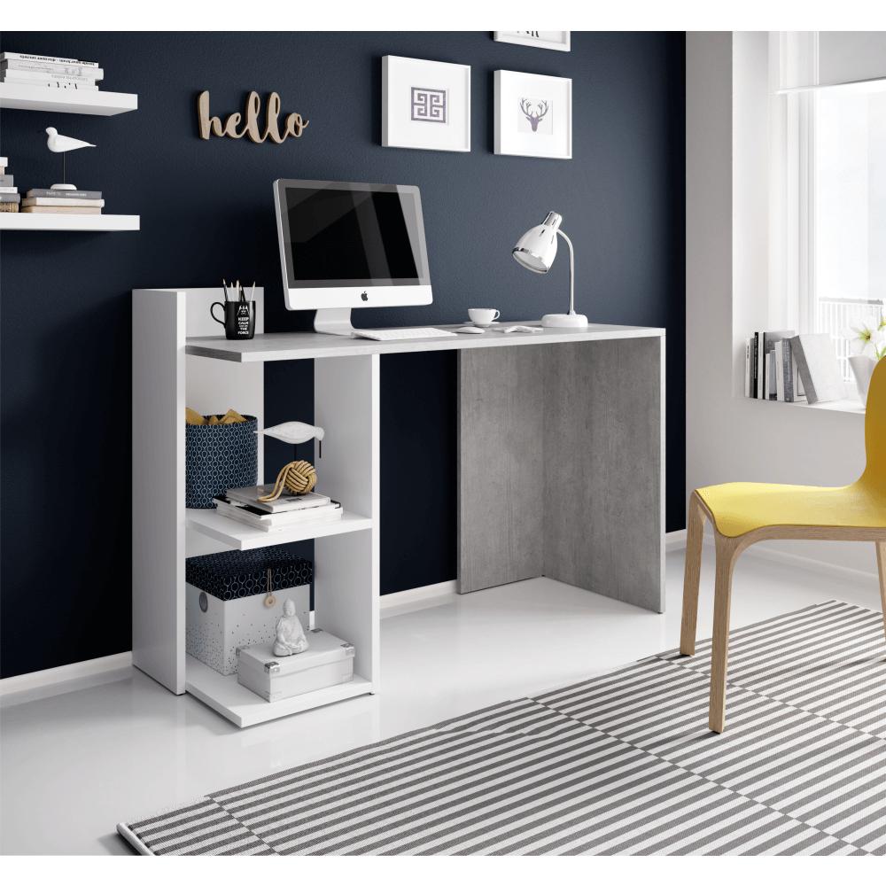 Masă PC, beton/alb mat, ANDREO