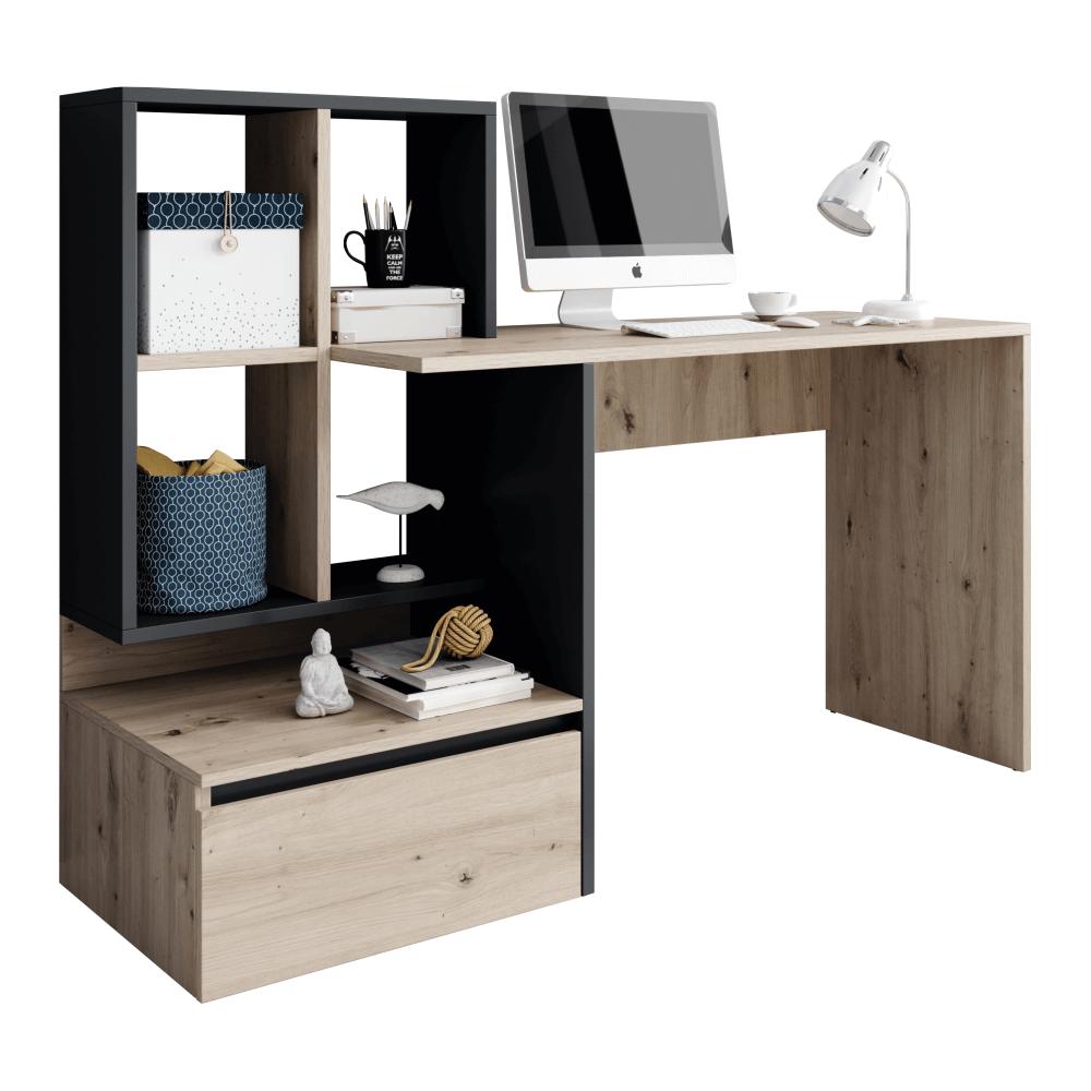 Masă PC, stejar artisan/grafit-antracit, NEREO