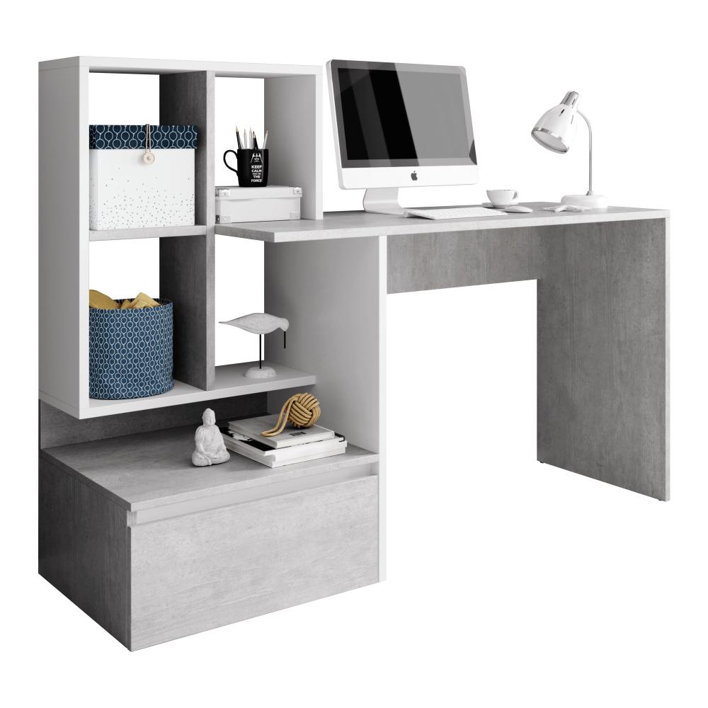 Masă PC, beton/alb mat, NEREO