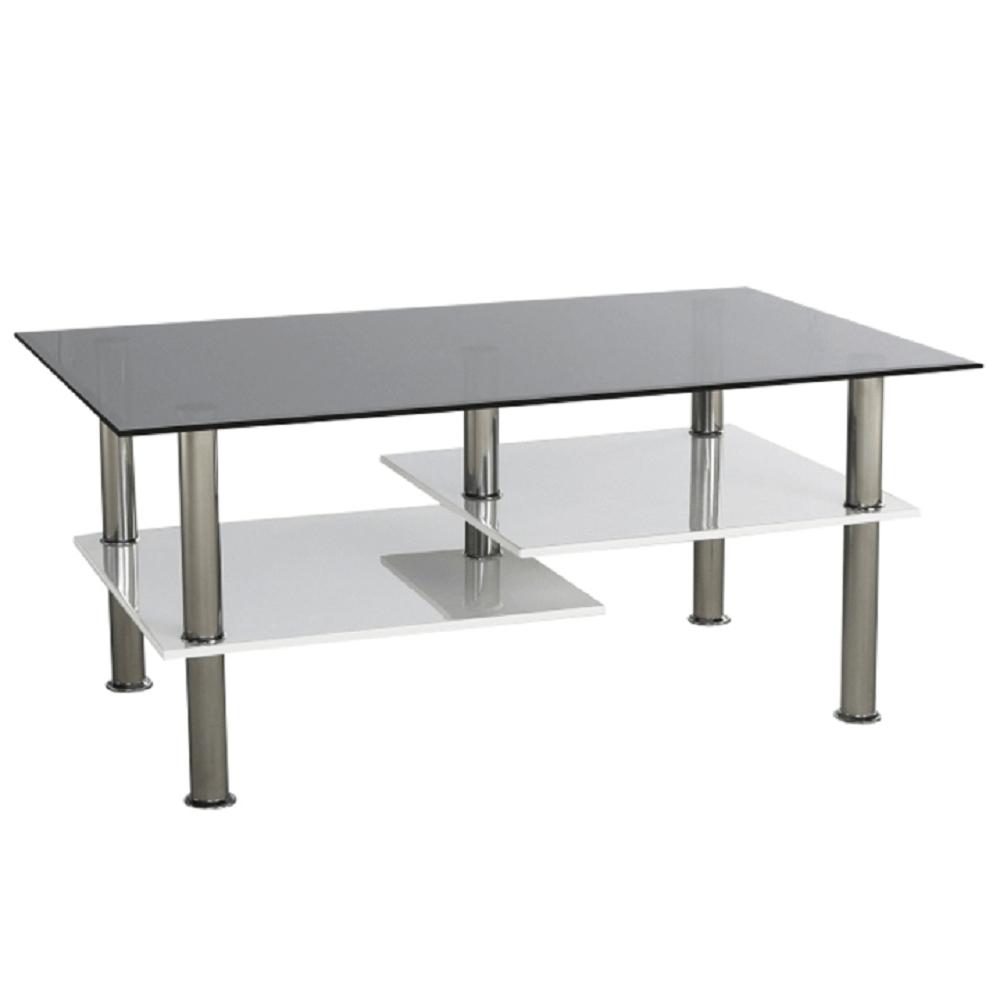 Dohányzóasztal, fehér extra magas fényű HG/ üveg, SVEN