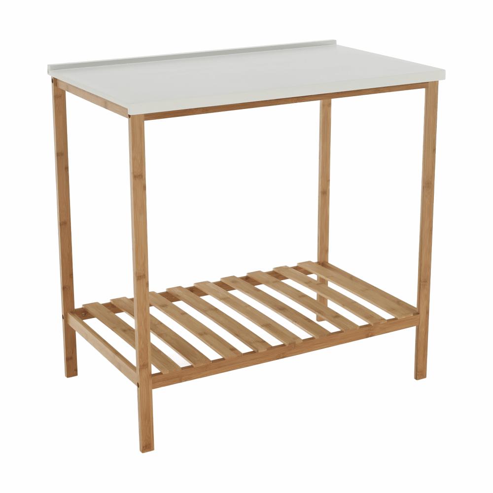 Polcos kisasztal, természetes/fehér, SELENE TYP 5