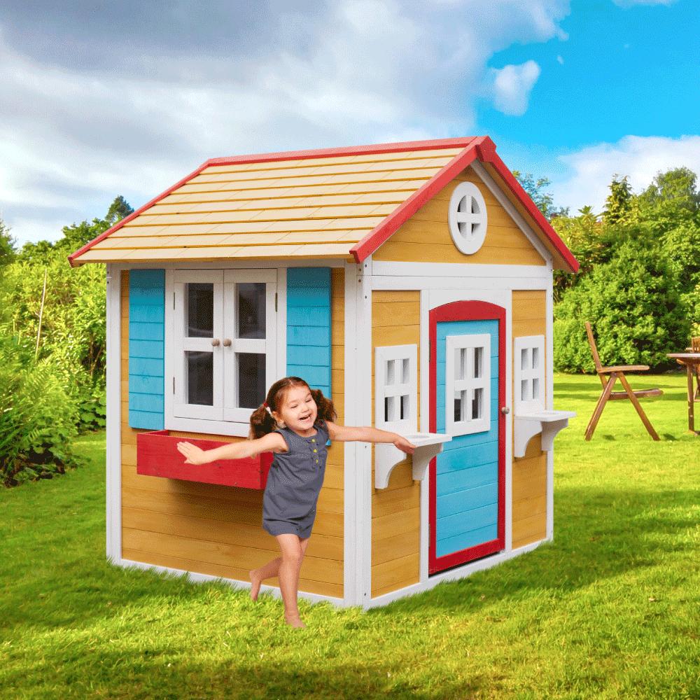 Căsuţă de grădină din lemn pentru copii natural / alb / albastru / roşu, AVILO