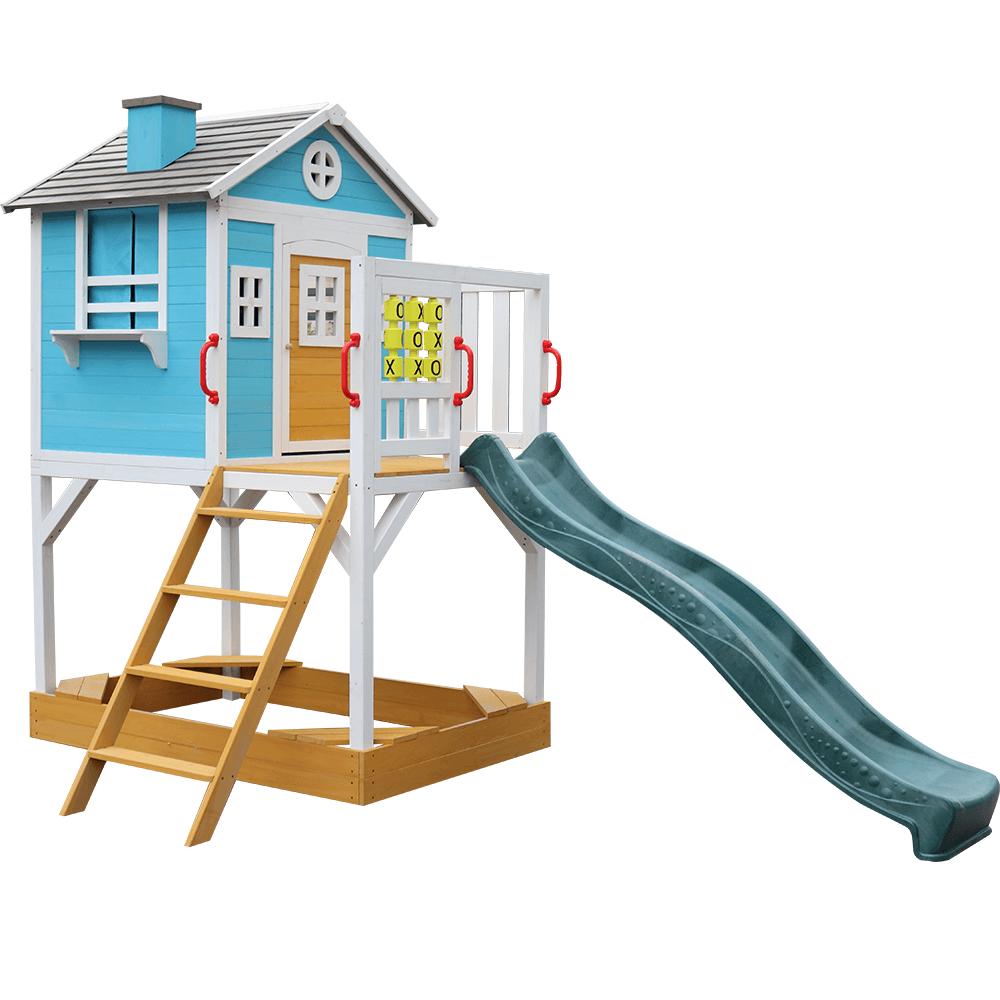 Fából készült kerti ház gyerekeknek csúszdával és homokozóval, PORTIO