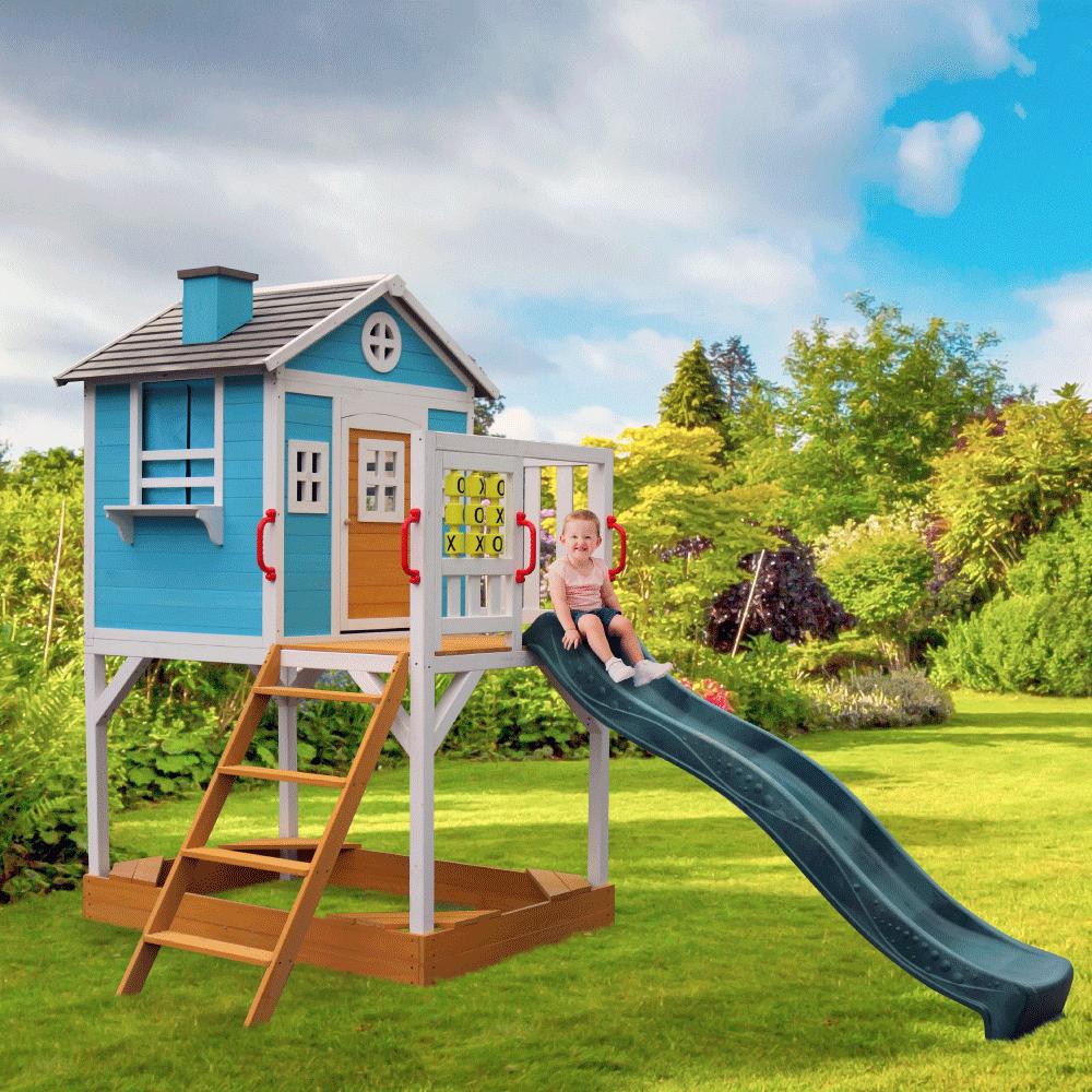 Căsuţă pentru grădină din lemn pentru copii cu tobogan şi loc cu nisip, PORTIO