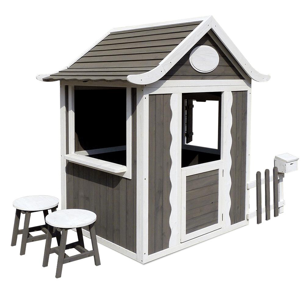 Fából készült kerti házülőkékkel és postaládával, szürke/fehér, PEOR