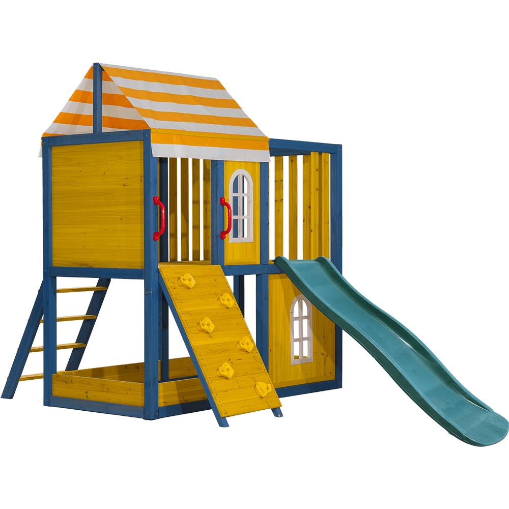 Căsuţă pentru grădină din lemn / loc de joacă pentru copii cu tobogan şi perete de căţărat, MANAS