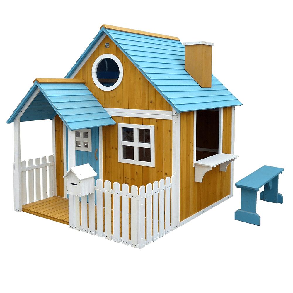 Fából készült kerti ház paddal, verandával és postaládával, BULEN