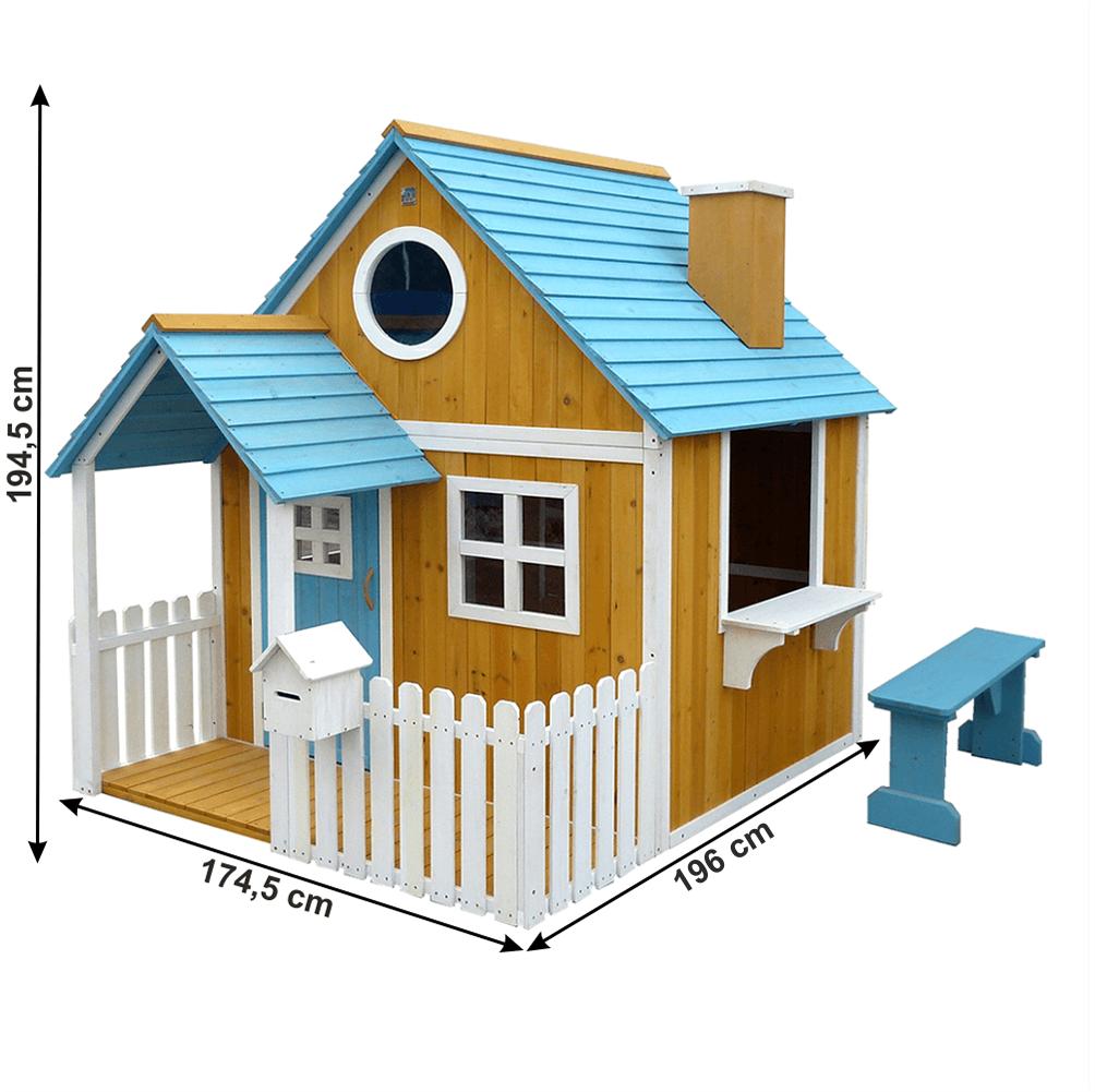 Căsuţă pentru grădină din lemn cu bancă, pridvor şi cutie poştală, BULEN