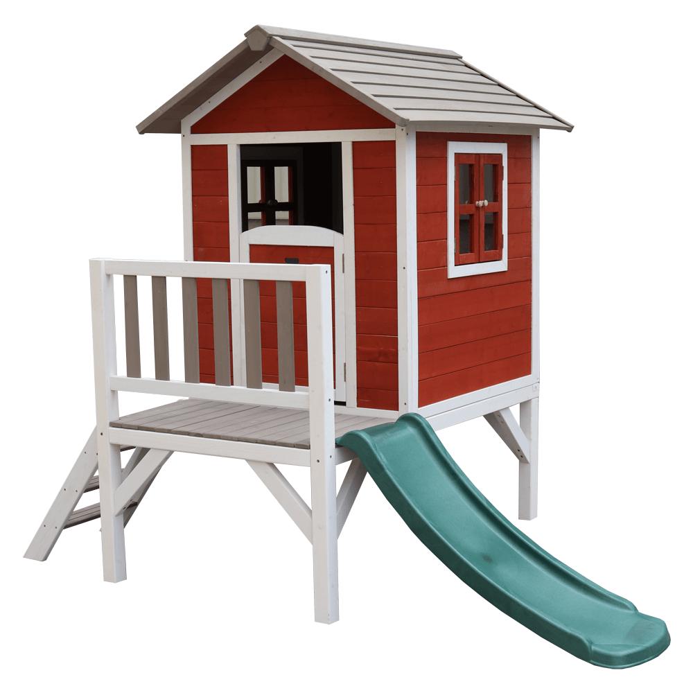 Căsuţă pentru grădină din lemn pentru copii cu tobogan, roşu / gri / alb, MAILEN