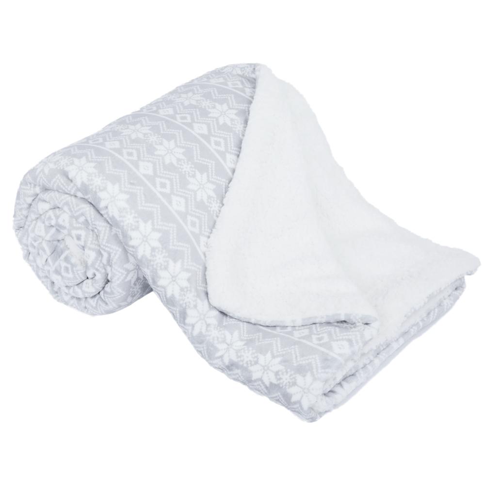 Pătură cu două feţe imitaţie miel, gri/alb/model, 150x200, MARITA