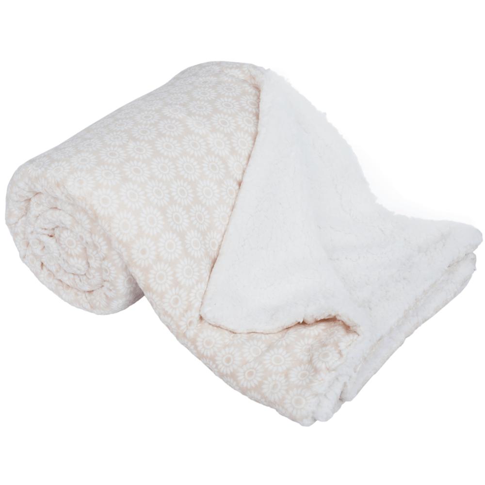 Pătură cu două feţe imitaţie miel, bej/alb/model, 150x200, AVANTI