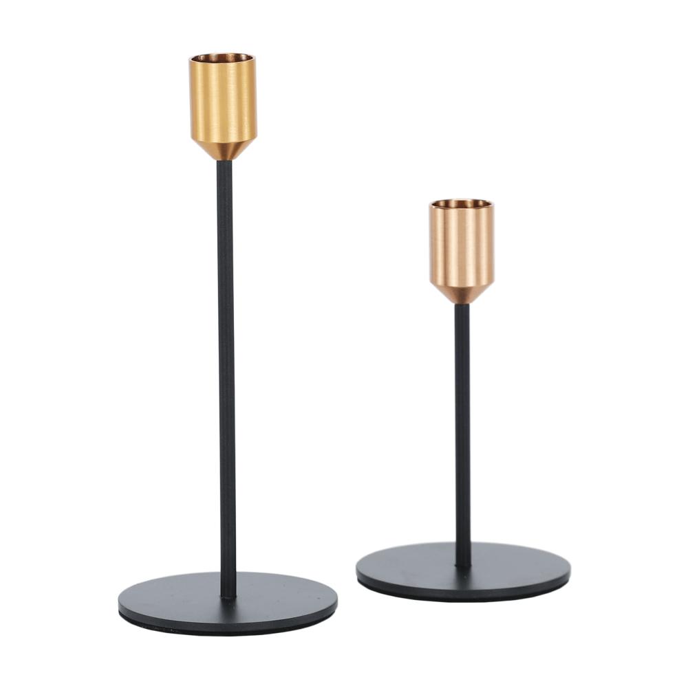 Két darabos gyertyatartó készlet, fekete/arany, ARLOB