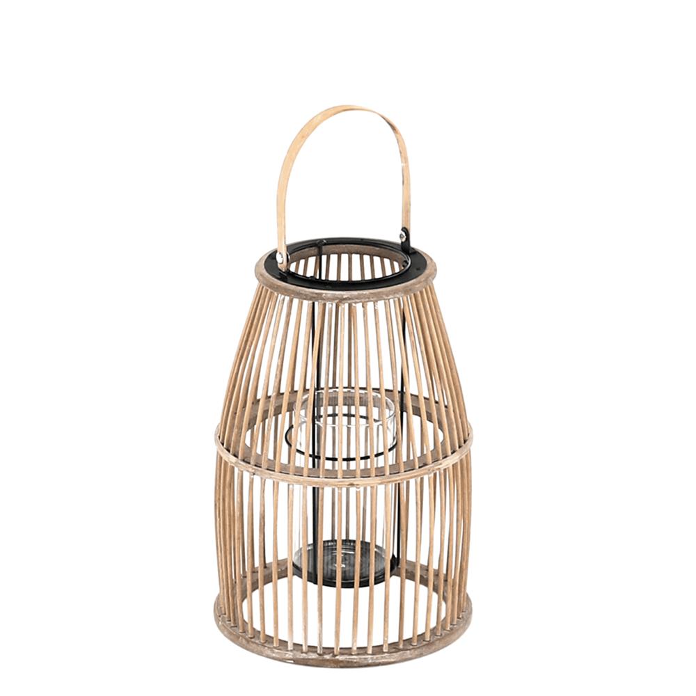 Gyertyatartó lámpás, természetes bambusz, MILES TYP 1