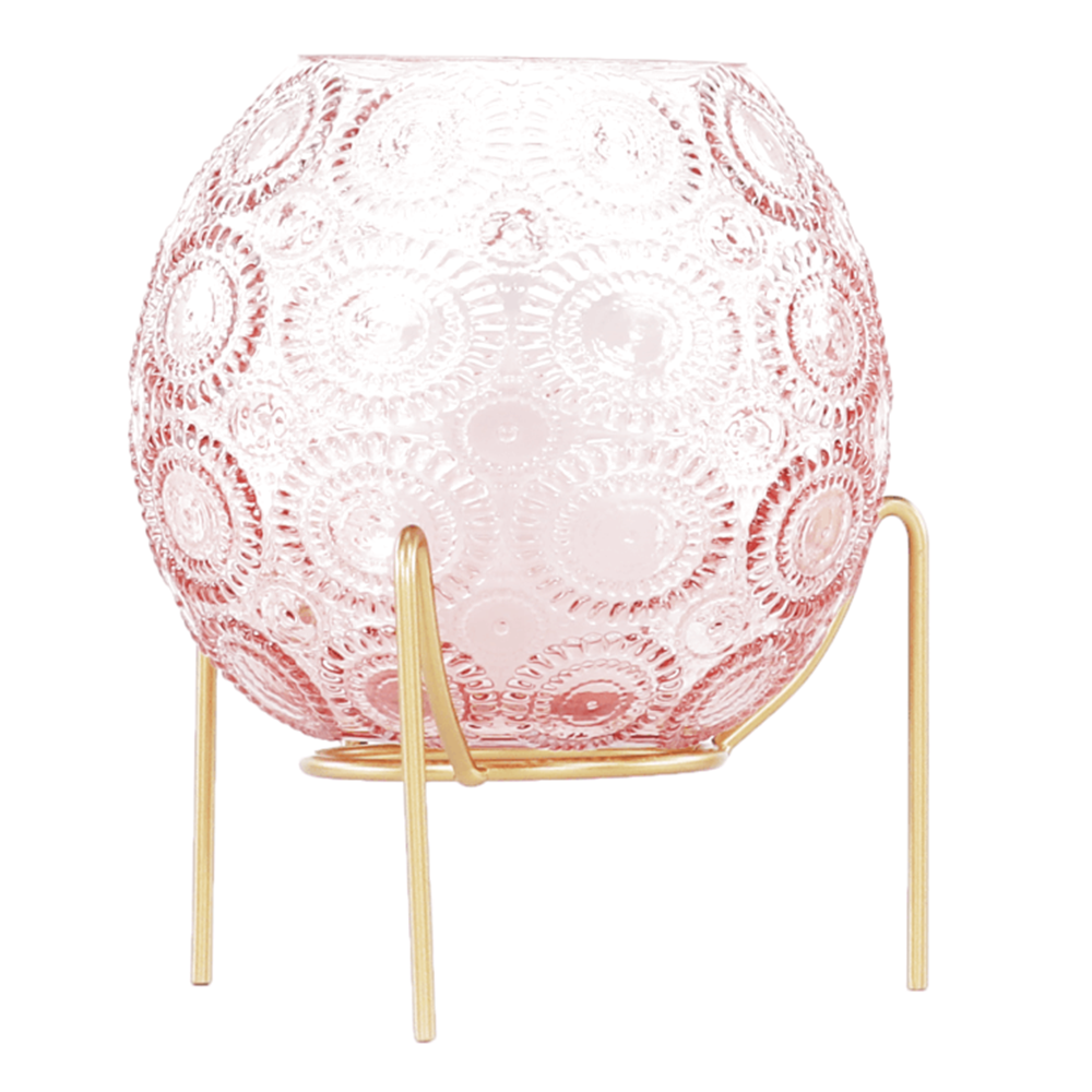 Üveg gyertyatartó, rózsaszín/arany, MAISI