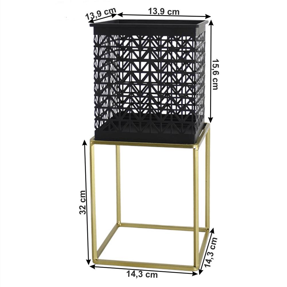 Set 2 suporturi pentru ghivece, pătrat/rotund, negru/auriu, ESME SET