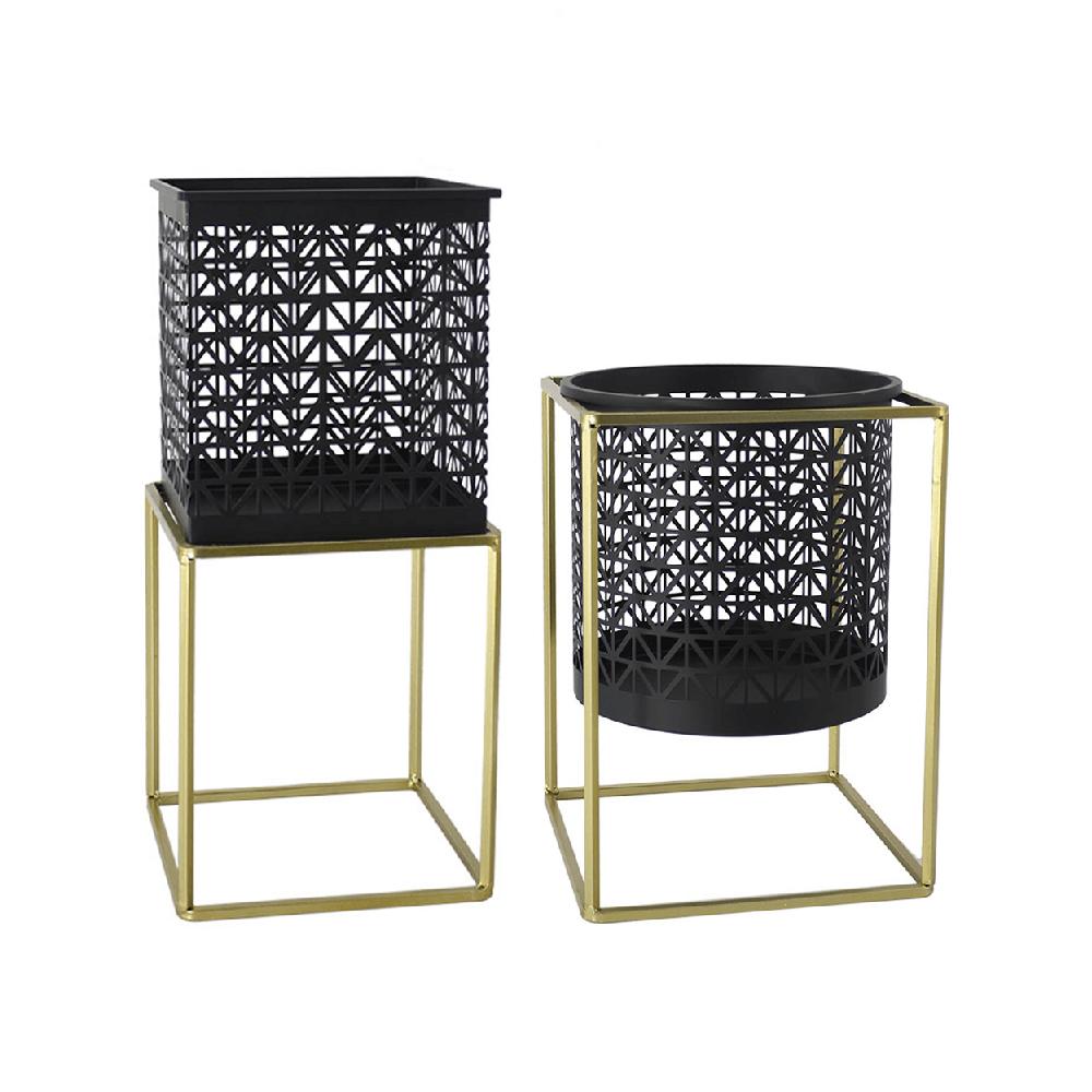 2 darabos virágtartó állvány szett, szögletes/kerek, fekete/arany, ESME SET