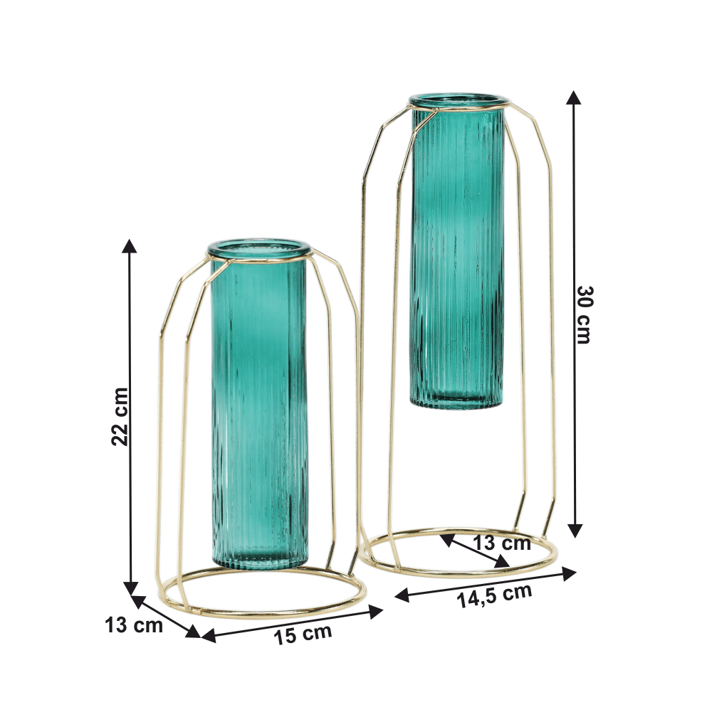 Set de două vaze, smarald/auriu, ROSEIN TYP 1