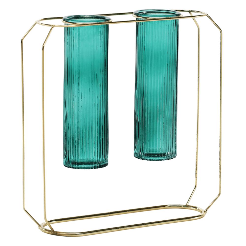 Dupla váza, smaragdzöld/arany, ROSEIN TYP 2
