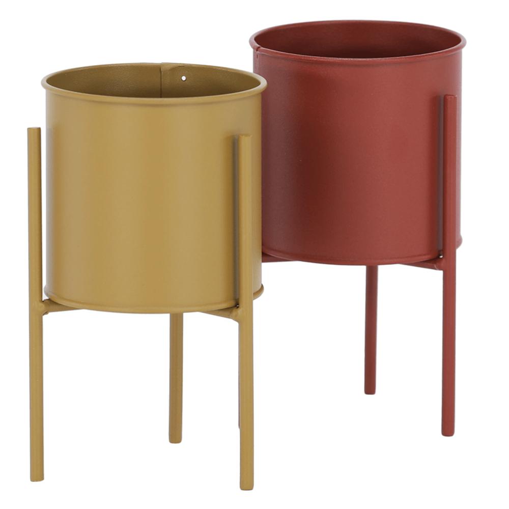 Set 2 ghivece metalice, roşu/galben, ROZEL SET