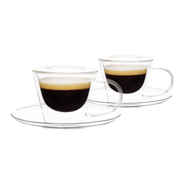 Thermo espresso csésze  pohár csészealjakkal, 2db, 80ml, HOTCOOL TYP 4