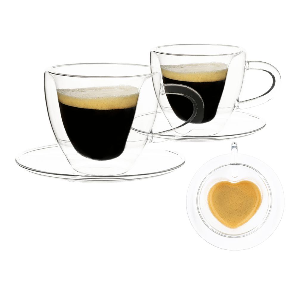 Thermo Heart csésze pohár csészealjakkal, 2db, szív alakú, 150ml, HOTCOOL TYP 5