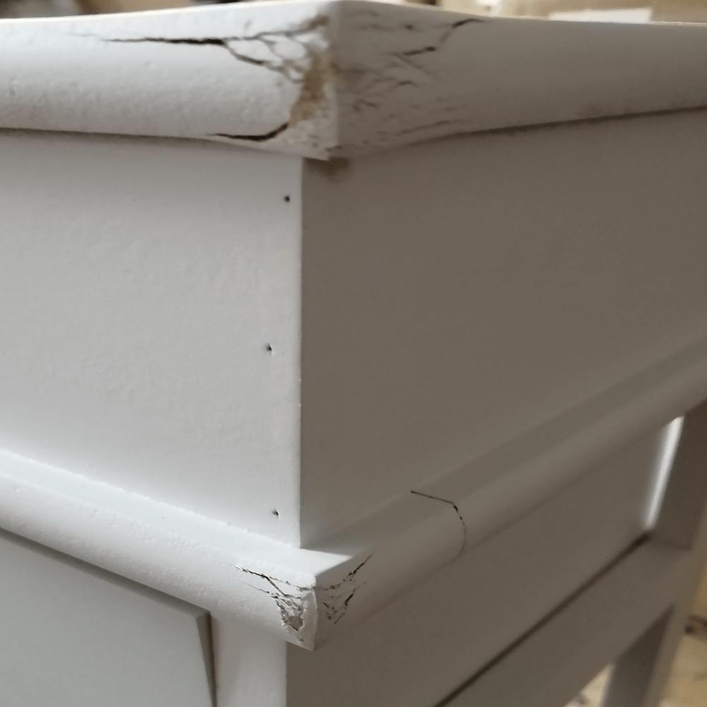 Komoda, 1 košík, sivá/biela, MATIAS 1, poškodený tovar
