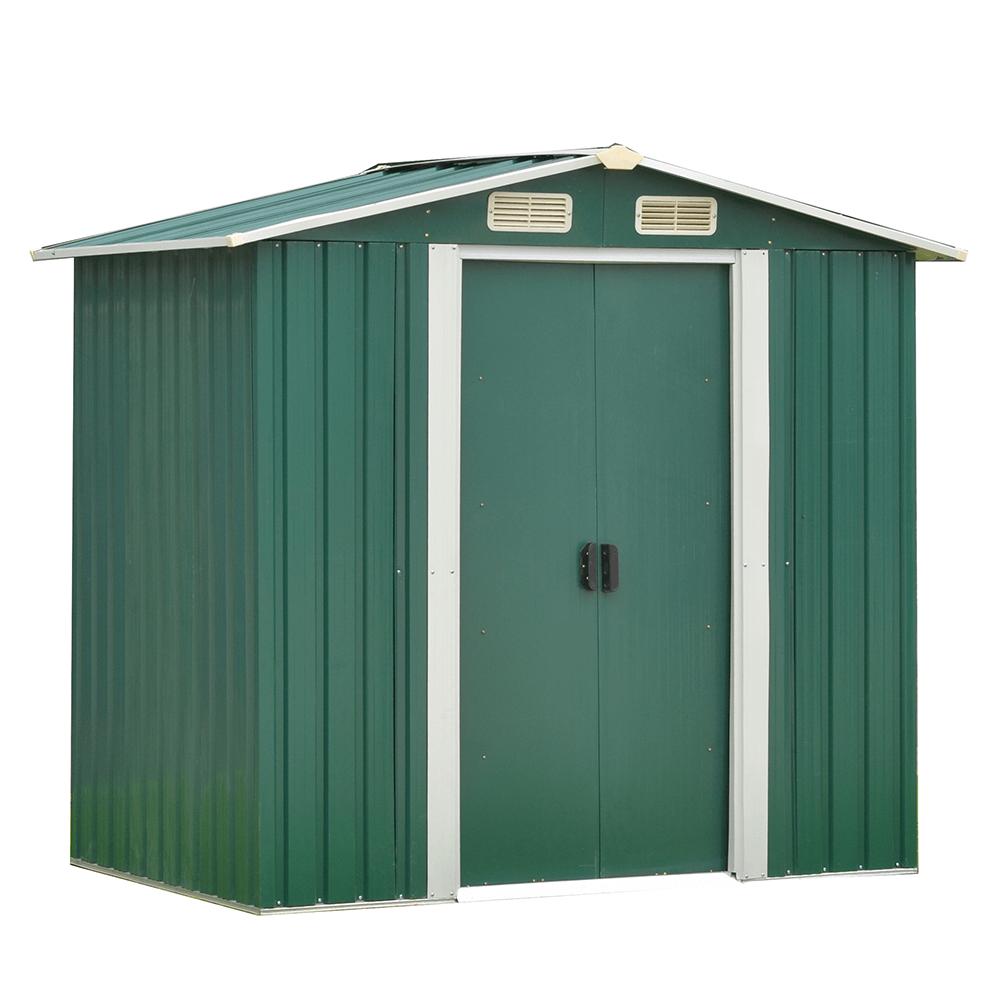 Căsuţă pentru grădină din tablă pentru scule, verde / alb, 2x1,3m, HAMAL TIP 1