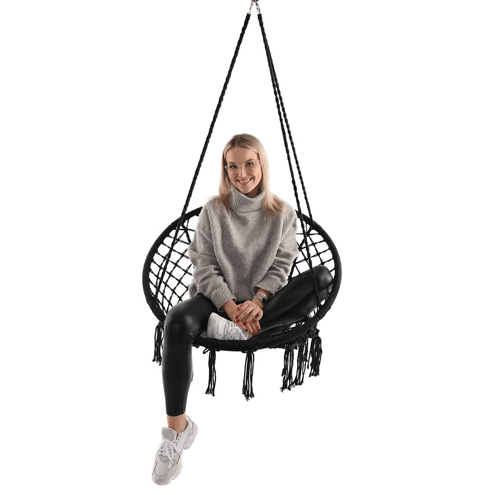 Függő szék, pamut+fém/fekete, AMADO 2 NEW