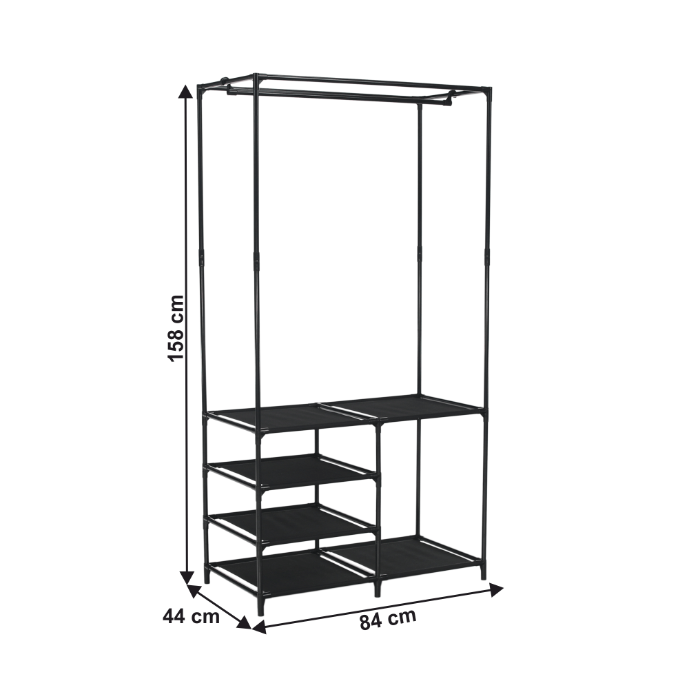 Raft multifuncţional pentru dulap, negru, EFREN
