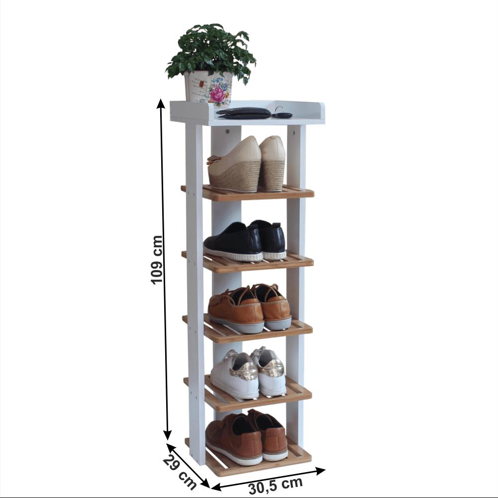 Cutie de pantofi cu 7 rafturi, alb / natural, DEKLAN