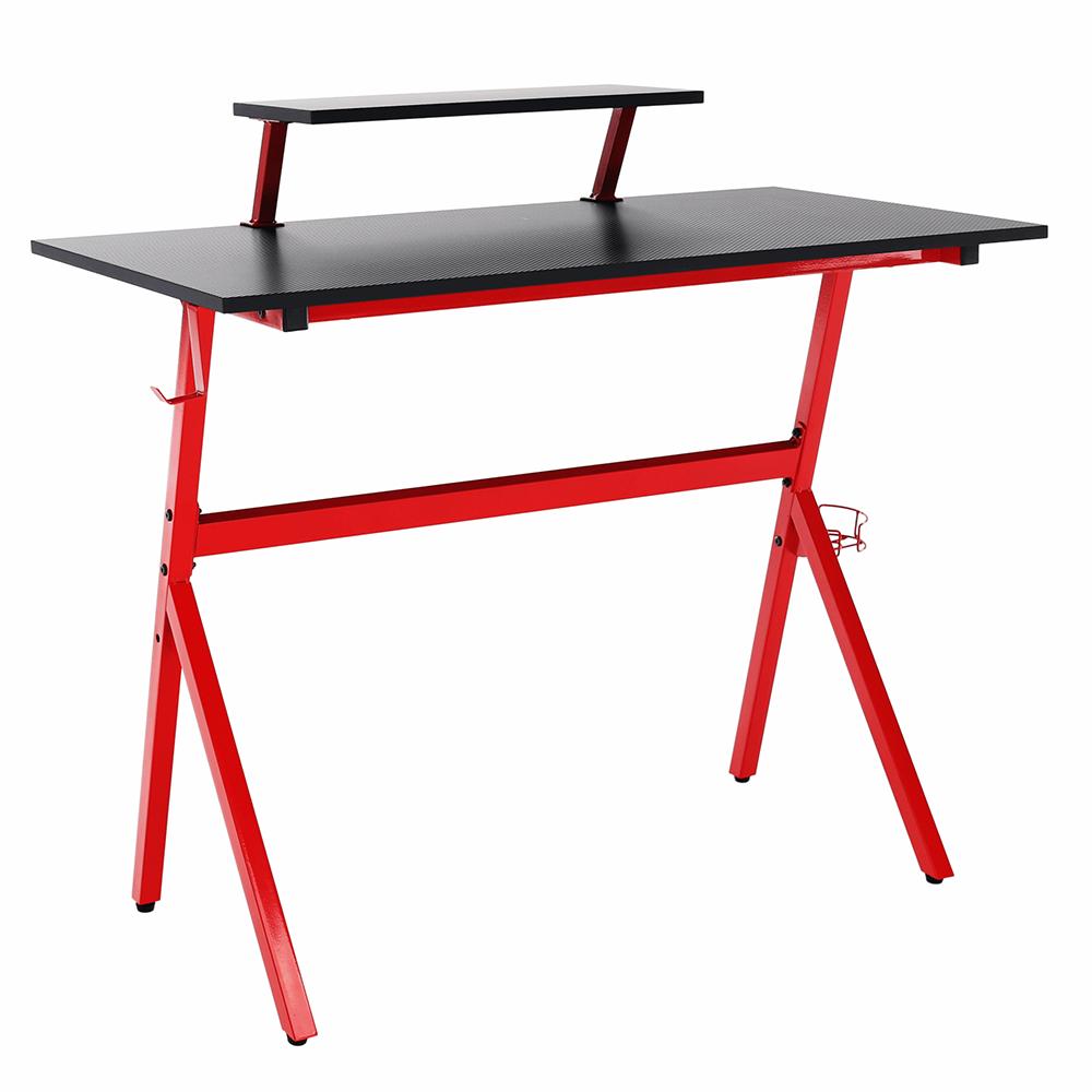 Masă PC/masă de joc, roşu/negru, LATIF