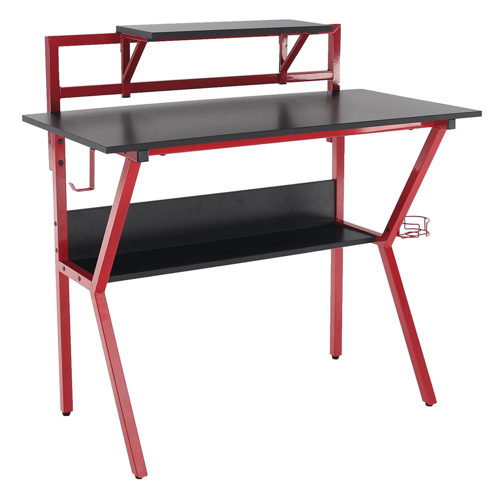 Masă PC/masă de joc, roşu/negru, TABER
