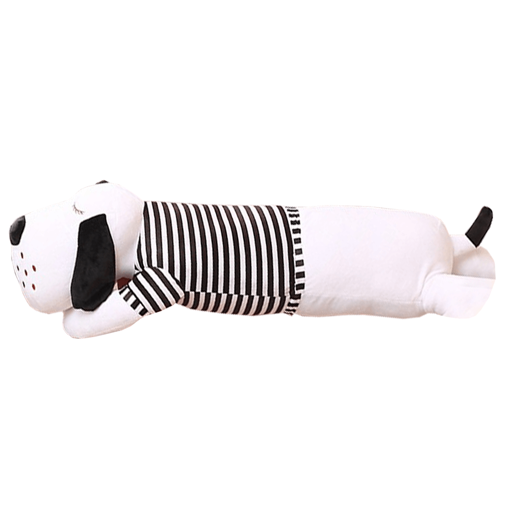 Plüss kutya, fehér/fekete csíkok, 50cm, REXO typ 1