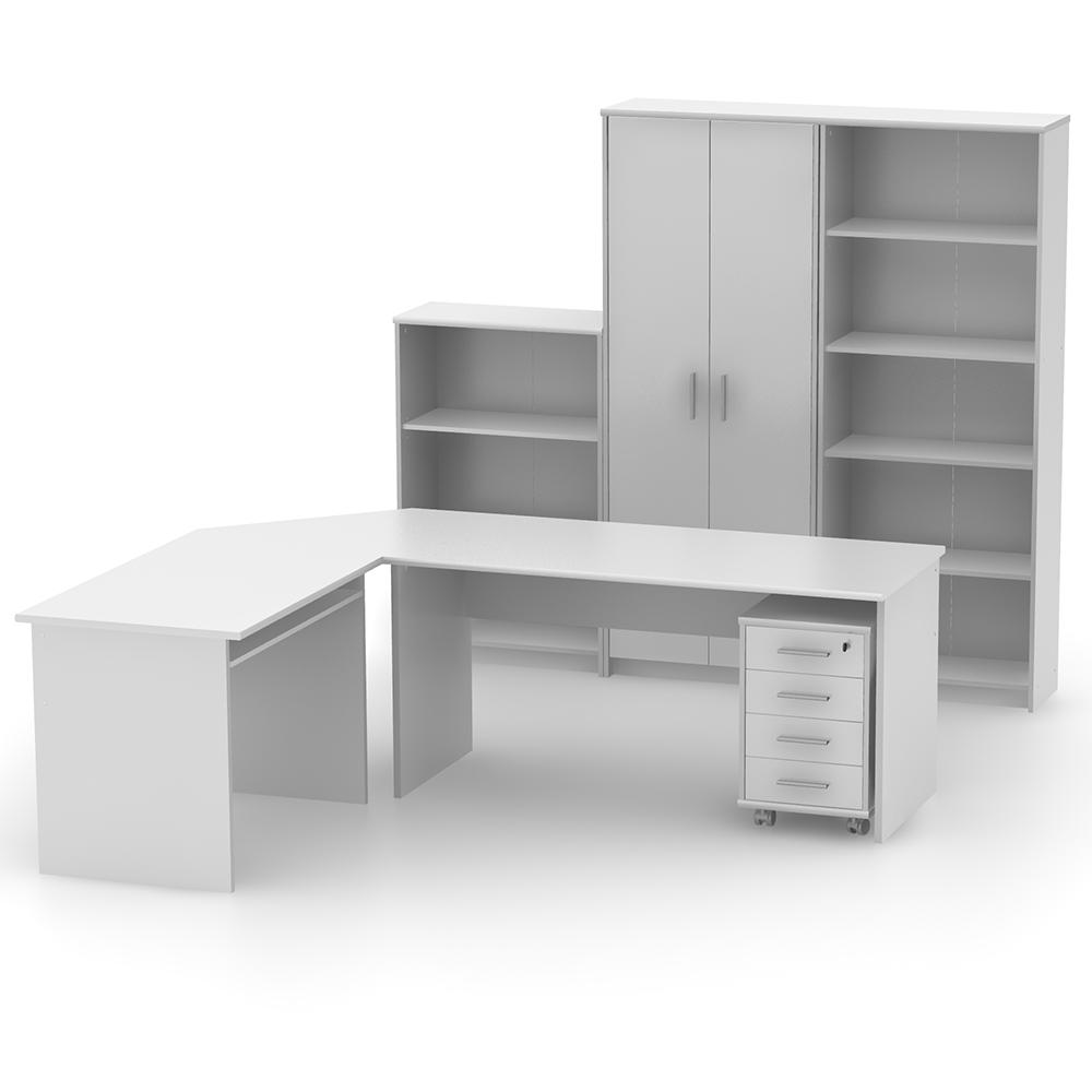 Irodai polcos szekrény, fehér, JOHAN 2 NEW 03