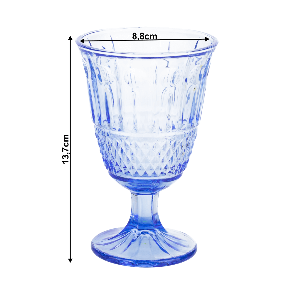 Borospohár készlet, 6db, 220 ml, kék, LEGACY