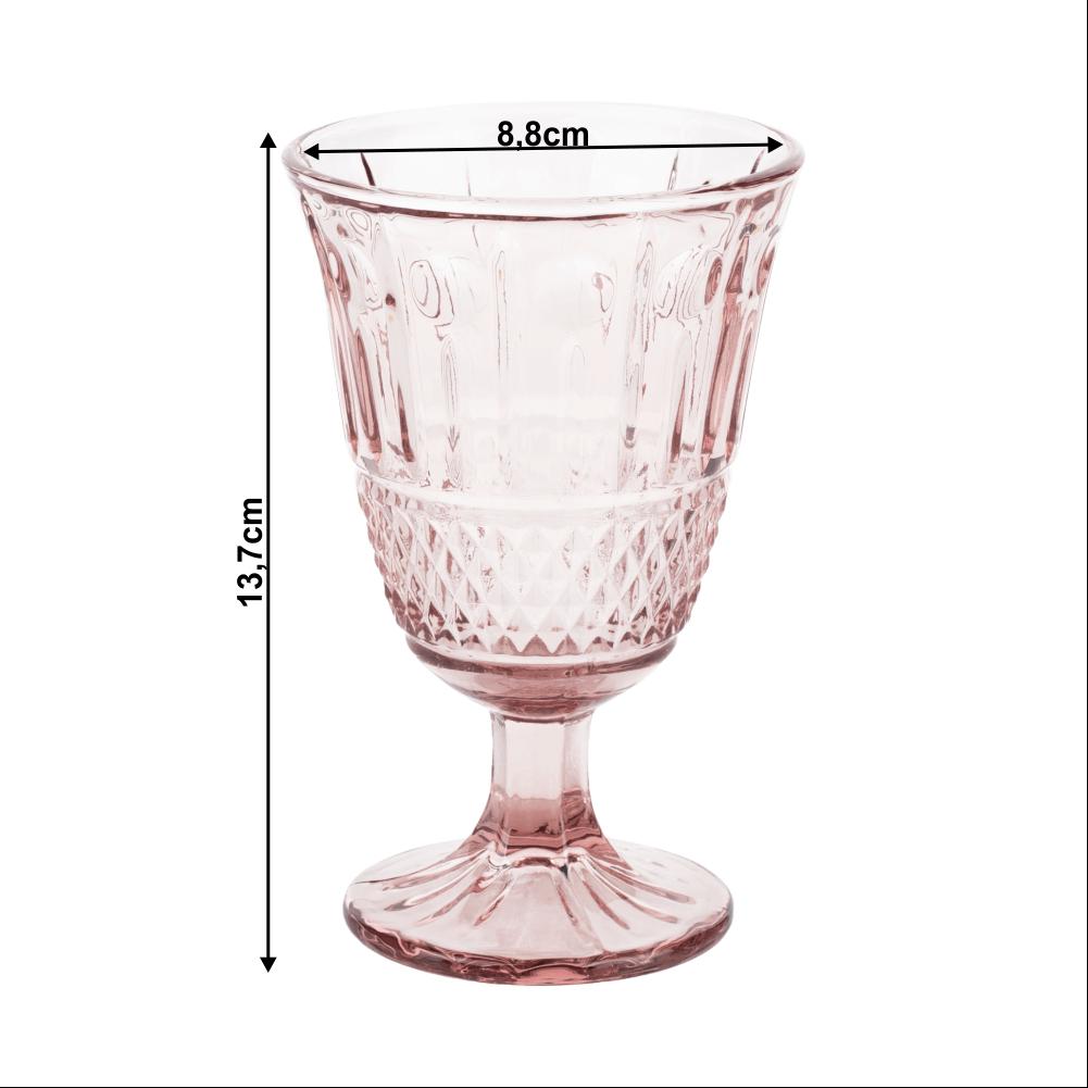 Borospohár készlet, 6db, 220 ml, rózsaszín, LEGACY