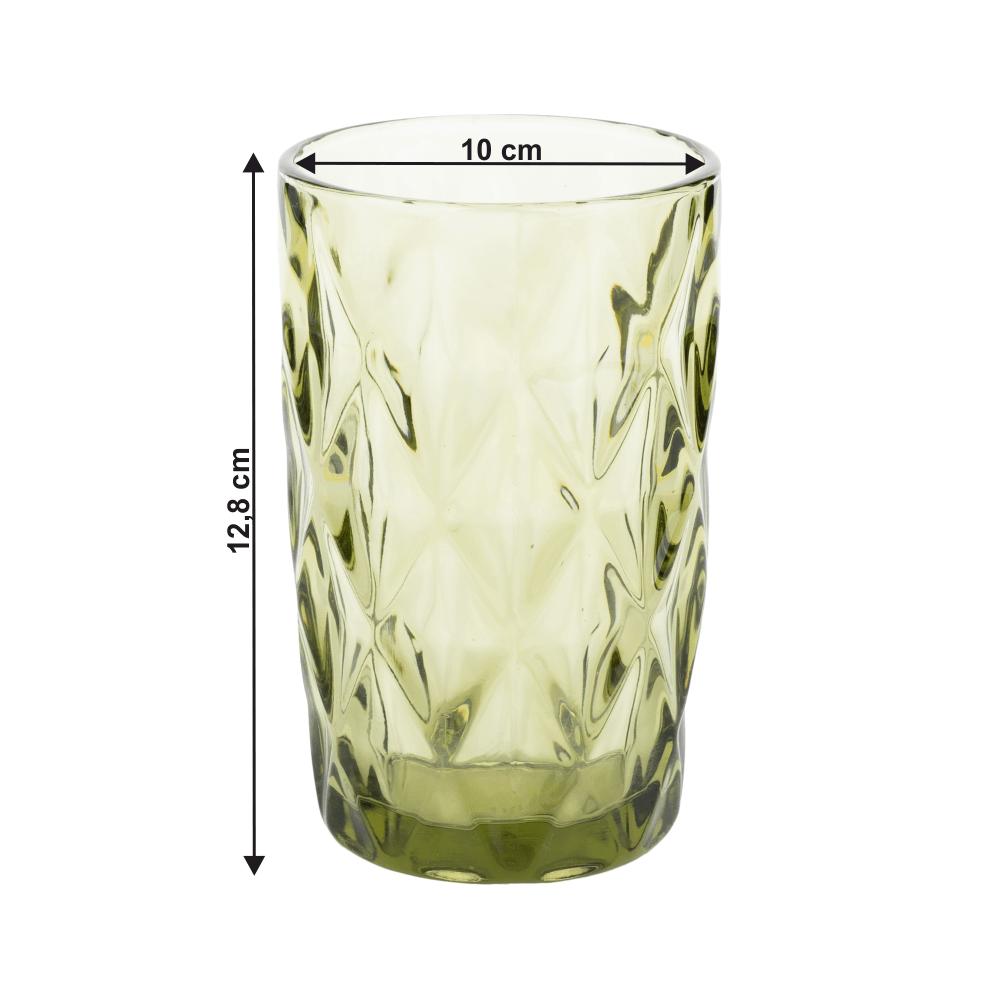 Set de pahare de apă, 6buc, 350 ml, verde, BAROLO TIP 1