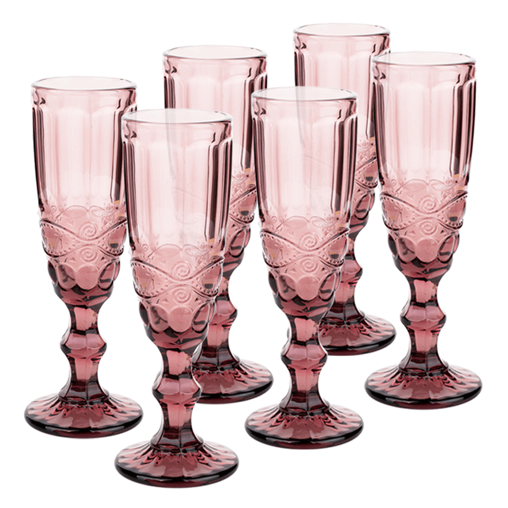 Set de pahare de şampanie, 6buc, 150 ml, roz, FREGATA TYPE 4
