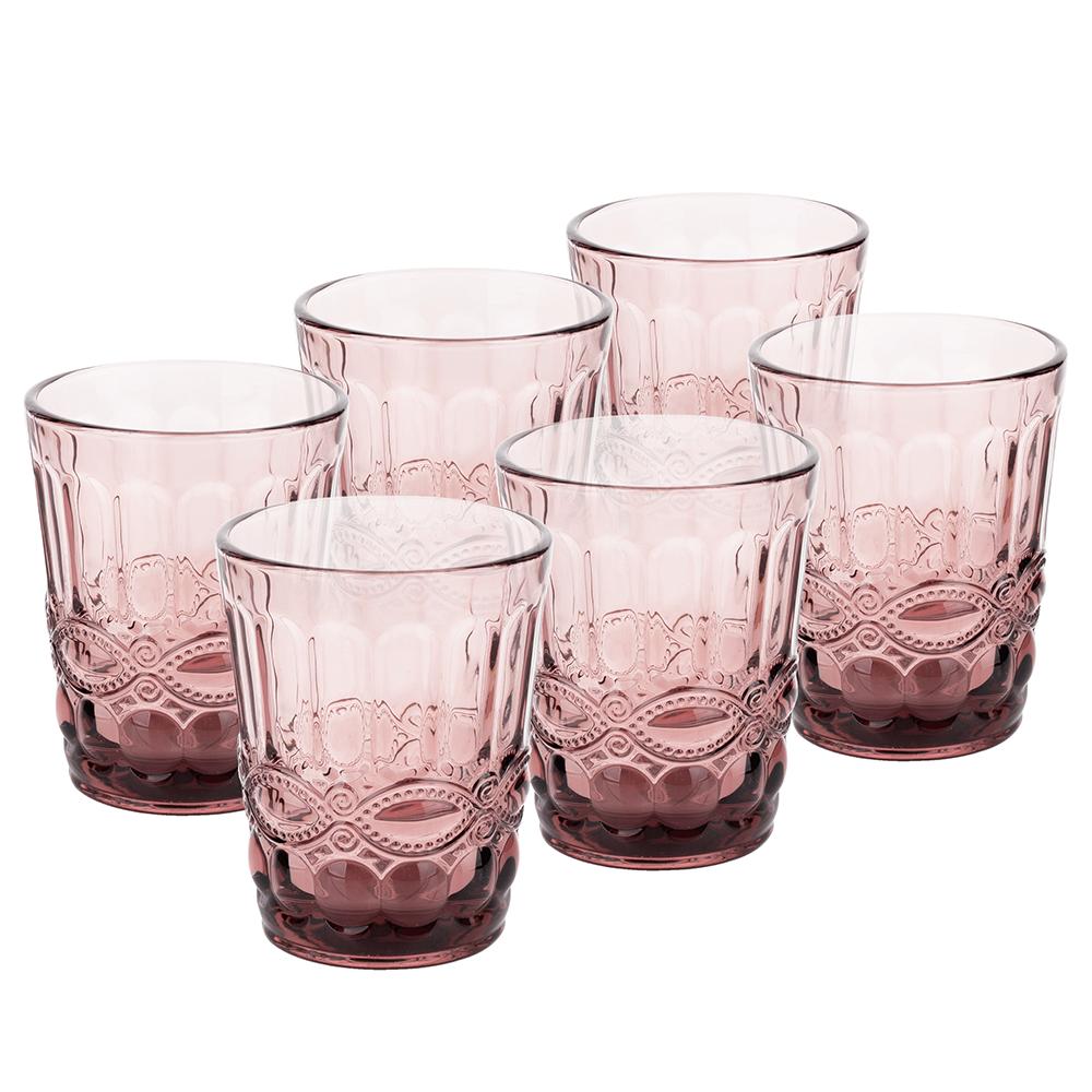 Vizespohár készlet, 6db, 240 ml, rózsaszín, FREGATA TYP 2