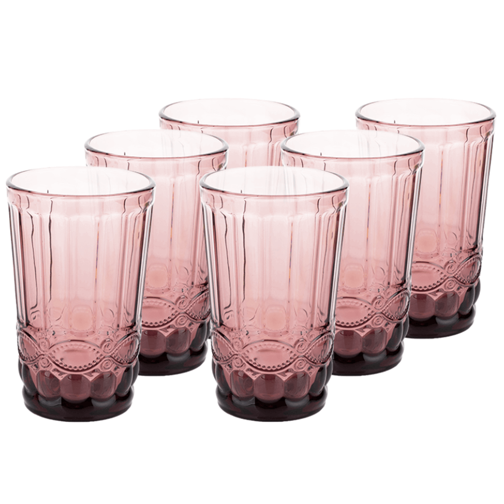 Set de pahare de apă, 6buc, 350 ml, roz, FREGATA TYPE 1